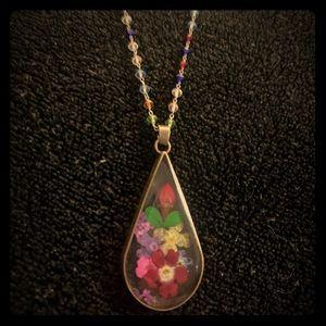 Vintage resin dried floral pendant